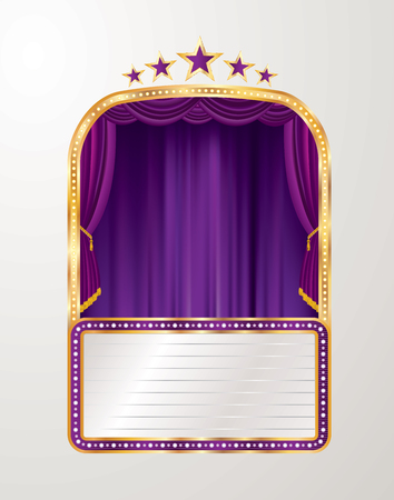 vector stage with purple curtain, five stars and blank billboard - Vector illustration
