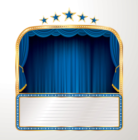 vector stage with blue curtain, five stars and blank billboard - Vector illustration