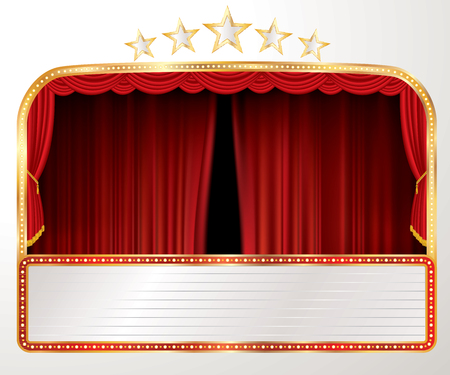 vector stage with red curtain, five stars and blank billboard - Vector illustration