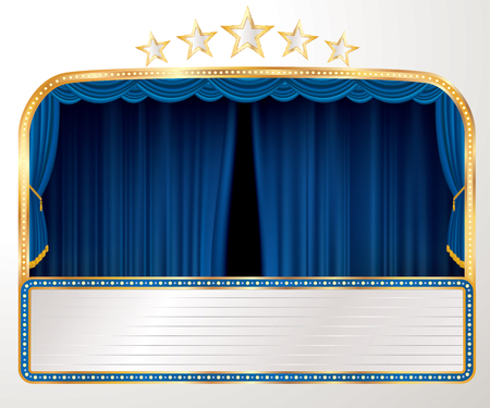 vector wide stage with blue curtain, five stars and blank billboard - Vector illustration