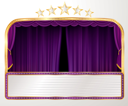 vector wide stage with purple curtain, five stars and blank billboard - Vector illustration