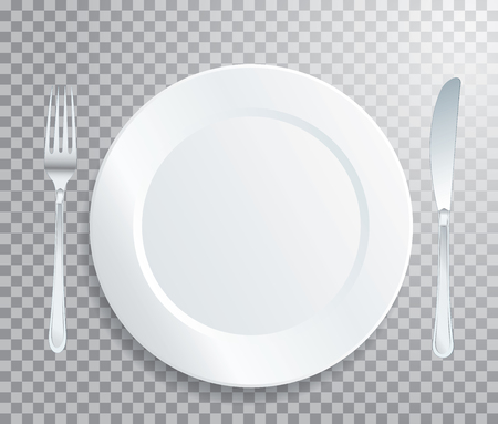 blank white empty plate and knife with a fork