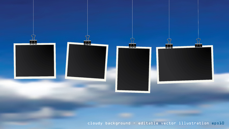 Four square vector photo frames hanging on metal clips. Vertical and horizontal template photo design on cloudy background Иллюстрация