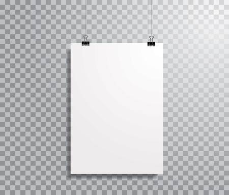 empty white paper sheet, frame mockup hanging with metal paper clip, vector background
