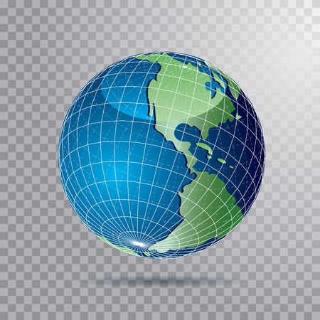 vector earth globe with parallels and meridians