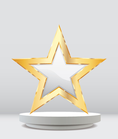gold star on white podium, entertainment and show business vector background, layered and editable