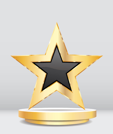 gold black star on golden podium, entertainment and show business vector background, layered and editable