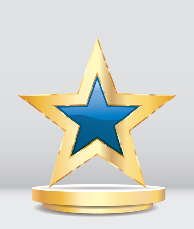 gold blue star on golden podium, entertainment and show business vector background, layered and editable