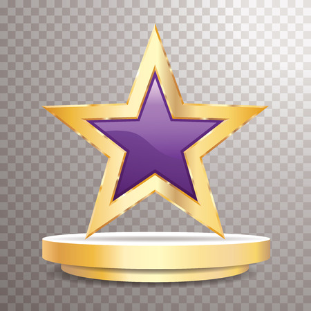 gold purple star on golden podium, entertainment and show business vector background, layered and editable