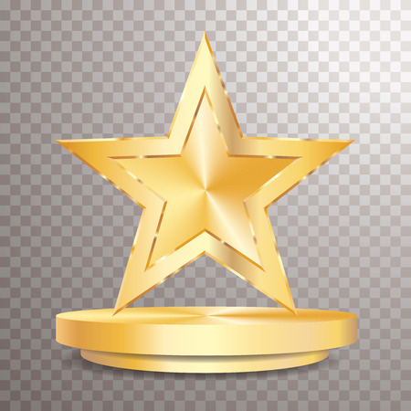 golden star on golden podium, entertainment and show business vector background, layered and editable Иллюстрация