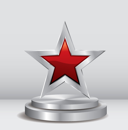 red silver star on silver podium, vector template for cosmetics, show business, sports or something else