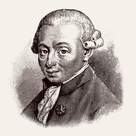 Antiguo grabado vectorizado de Immanuel Kant, el grabado es de Meyers Lexicon publicado en 1914 - Leipzig, Deutschland Ilustración de vector