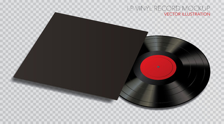 LP vinyl record mockup with black cover and red label, vector illustration