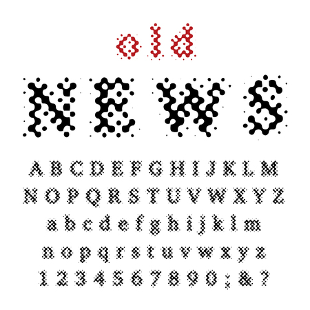 vector grunge stain dotted old newspapers raster font Иллюстрация