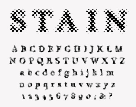 vector grunge stain dotted old newspapers raster font Illustration