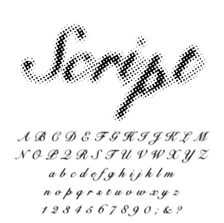 vector grunge stain dotted shadow raster script font Иллюстрация