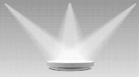 white round podium illuminated with three spotlights, vector halftone dotted raster background