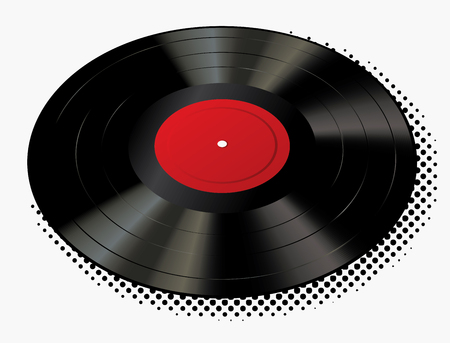 vector realistic illustration of vinyl long play record with blank red label and halftone shadow Иллюстрация