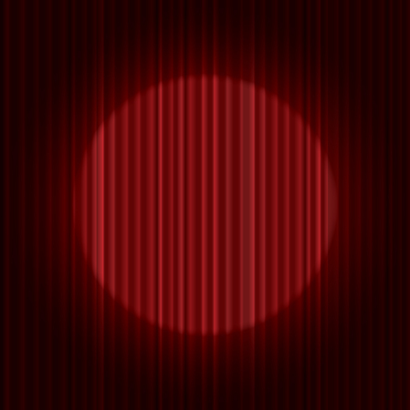 vector stage with one circle spot light on red curtain Illustration