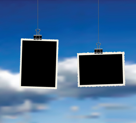 two square vector photo frames hanging on metal clips over clody sky. template photo design Standard-Bild - 117161148