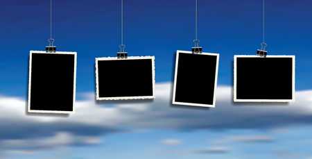 four square vector photo frames hanging on metal clips over clody sky. template photo design Иллюстрация