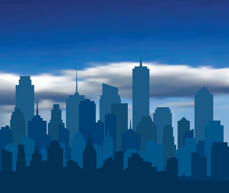Modern City skyline, city silhouette with clouds, vector illustration in flat design