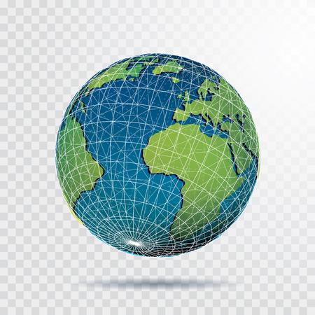 globe terrestre vectoriel avec parallèles, méridiens et filet de triangle abstrait