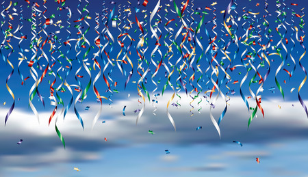 color golden and silver confetti over the cloudy sky, vector editable illustration Иллюстрация