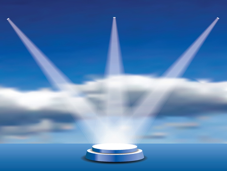 Empty vector blue pedestal on blue cloudy sky with three spotlights. Template for product presentation with spotlight
