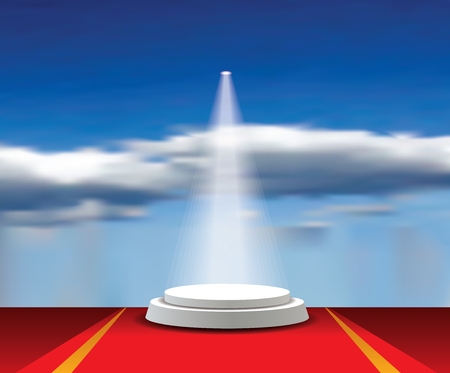 Empty vector white pedestals with red carpet, spotlight and cloudy sky. Template for product presentation in heaven. Champions and winners background Illustration