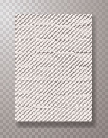 wrinkly empty white halftone paper sheet, frame mockup hanging with metal paper clips, vector background