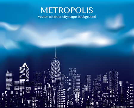 windows on abstract city skylines on cloudy background Illustration
