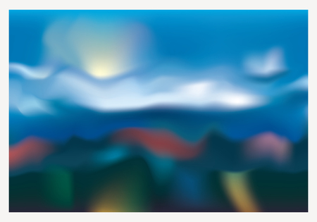 abstract blurry colorful landscape with cloudy sky and pastel color mountaines Иллюстрация