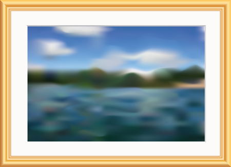 vector fake watercolor or pastel image in golden frame