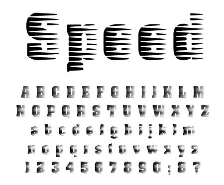 Speed halftone font Comic gradient design Modern letters and numbers Vector alphabet - Vector