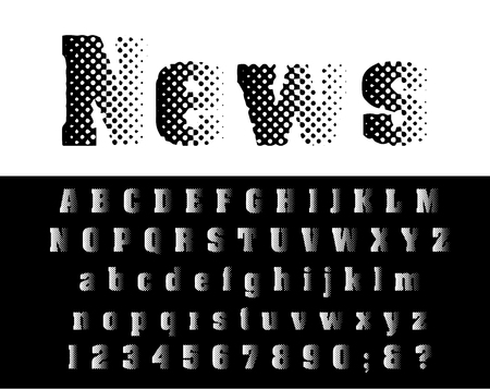 vector grunge stain dotted old newspapers halftone raster font