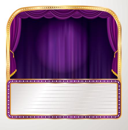 vector stage with purple curtain, spotlight and blank billboard - Vector illustration 矢量图像