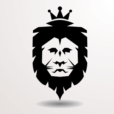 lion simple drawing with crown, logotype vector sign