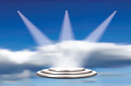 Piedistalli bianchi di vettore vuoto, riflettori e cielo nuvoloso. Modello per la presentazione del prodotto in paradiso. Storia di campioni e vincitori