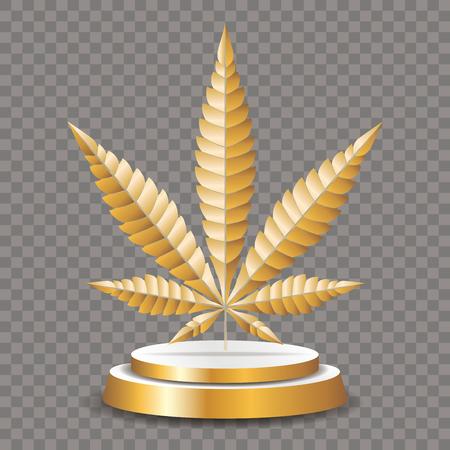 golden leaf of cannabis on golden pedestal Иллюстрация