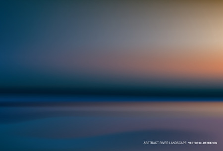sea sunset river landscape, vector abstract background