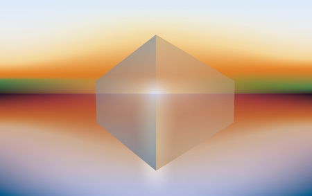 sea sunset landscape with transparent cube, vector abstract background