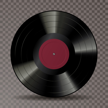 vector realistic illustration of vinyl long play record with blank red label Фото со стока - 125016679