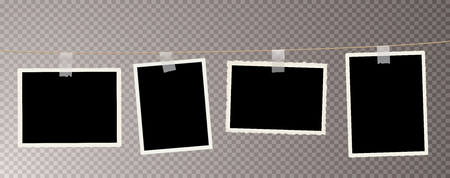 old vintage photo frames on rope with transparent white stick tapes, vector illustration