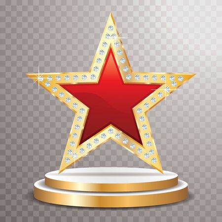 red golden star with diamonds on golden podium, vector template for cosmetics, show business or something else Ilustração
