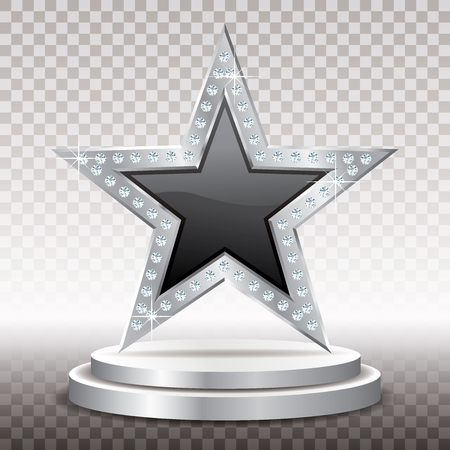 black silver star with diamonds on silver podium, vector template for cosmetics, show business or something else