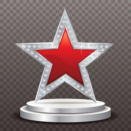 red silver star with diamonds on silver podium, vector template for cosmetics, show business or something else