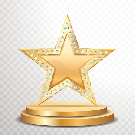 golden star with diamonds on golden podium, vector template for cosmetics, show business or something else
