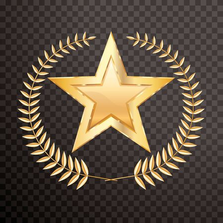 golden laurel wreath with golden star, vector editable and layered illustration Illustration