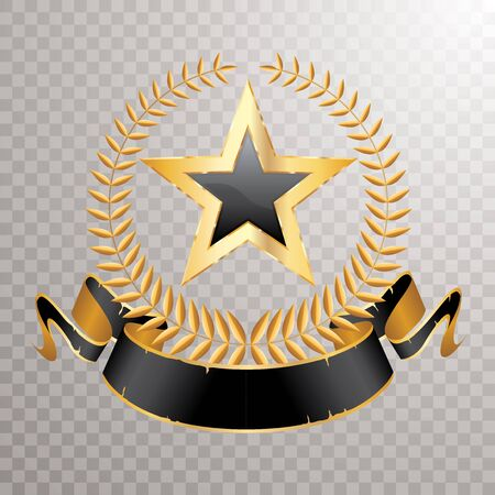 golden laurel wreath with black banner and black star, vector editable and layered illustration